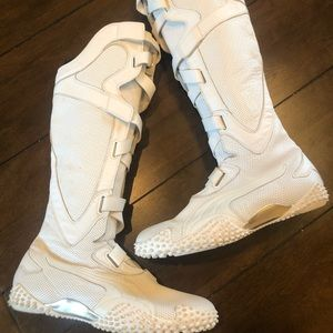 Puma motro Alta knee high boots in white